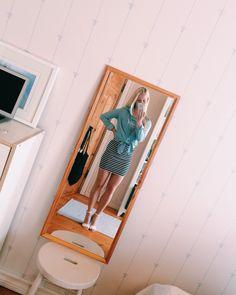 #outfit #summer #skirt #heels #stripes #denim #shirt