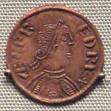 """Coin of Alfred, king of Wessex, London, 880 (based upon a Roman model).  Obv: King with royal band in profile, with legend: ÆLFRED REX """"King Ælfred""""."""