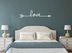 Love with Hand Drawn Split Arrow Vinyl Wall by WallArtShowcase