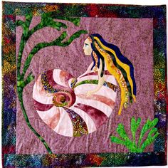 Mermaid Quilt Wall Hanging Wall Art Applique Sea by CinfulArt