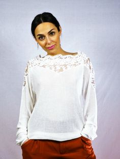 NEW INLace White TopSpring TopSpring FashionLace by KiZoy on Etsy Spring Tops, White Tops, Spring Fashion, Trending Outfits, Blouse, Lace, Etsy, Vintage, Fashion Spring