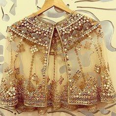 Buy Online Punjabi Wedding Lehenga Designer Collection Call/ WhatsApp us 77164 Lehenga Skirt, Lehnga Dress, Cape Lehenga, Lehenga Designs, Saree Blouse Designs, Golden Blouse Designs, Dress Indian Style, Indian Dresses, Pakistani Dresses