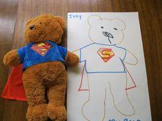 Teddy bear tracing - Love this idea for teddy bear week at school!
