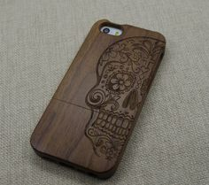 sugar skull Wood iphone 5 case,Wood iPhone 5s case,wood iPhone case with sugar skull by WhatWOOD on Etsy