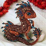 """Buy and order Brooch dragon """"Goldie"""". Embroidered dragon. Golden dragonet on Livemaster online shop. Shipped over Russia and the CIS. Materials: japanese beads, vintage beading,…. Dimensions: Length 5,5 cm (2,17 in), width 5 cm…"""