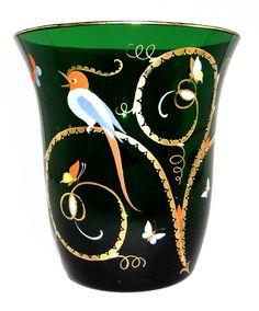 Seltene Vase mit Vogel - Insekten, Josephinenhütte, Siegfried Haertel, Art Deco