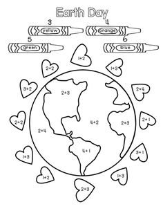 Earth week Math Coloring activity for Earth Day! Teach your kids to love the Earth (and all the delicious foods that it naturally produces) Earth Day Worksheets, Earth Day Activities, Spring Activities, Color Activities, Math Activities, Free Printable Kindergarten Worksheets, Holiday Activities, Earth Day Crafts, 2 Kind