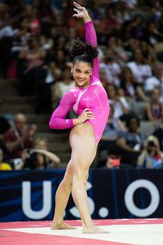 Laurie Hernandez on floor Tumbling Gymnastics, Gymnastics Team, Olympic Gymnastics, Olympic Sports, Olympic Team, Olympic Games, Women's Gymnastics, Amazing Gymnastics, Gymnastics Photography