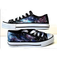 Galaxy Converse Sneakers Hand Painted Shoes, High Top Galaxy Shoes-Cus ❤ liked on Polyvore featuring shoes, sneakers, converse, tenis, planet shoes, galaxy print shoes, hi tops, cosmic shoes and converse trainers