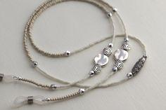 Silver Eyeglass Necklace, White Silver Eyeglass Chain, Silver Eyeglass Lanyard, Silver White Eyeglass Holder, Silver Lanyard, White Lanyard on Etsy, $24.95