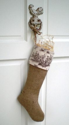 Country Chic French Rustic Chestnut Brown and Ivory Toile Burlap Stocking Christmas 2011 Sold: Reseved for L.A. $56.00, via Etsy.