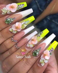 Bling Acrylic Nails, Summer Acrylic Nails, Best Acrylic Nails, Bling Nails, Swag Nails, Pastel Nails, Stiletto Nails, Summer Nails, 3d Nail Designs