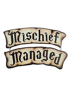 "Tin sign set with banner style ""Mischief Managed"" designs.<ul><li> Approx. 12"" x 3"" each</li><li>Imported</li></ul>"