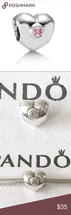 Pandora Heart Charm with pink CZ sterling silver Authentic Pandora charm. Pandora heart charm with pink cubic zirconia crystal in the center. Sterling silver charm, stamped with 925 Ale on the top but it's starting to wear off from being on the bracelet.   Bundle to save!  *Does not include the bracelet or cloth, sorry I do not have the box*  #Pandora heart charm, Pandora pink charm, Pandora pink CZ heart charm, Pandora cubic zirconia charm, Pandora sparkly charm, Pandora Christmas present…