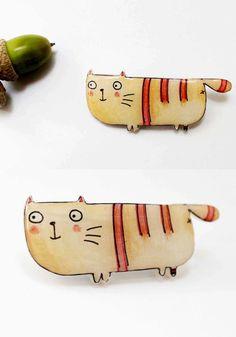Cat brooch   https://www.etsy.com/listing/159244792/free-shipping-cat-brooch-pin-animal