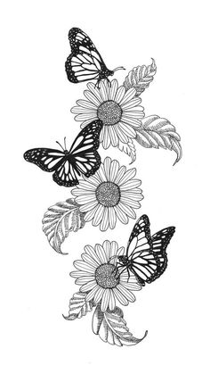 Monarch and flowers butterfly sleeve tattoo, monarch butterfly tattoo, butterfly tattoo designs, arm Butterfly Sleeve Tattoo, Monarch Butterfly Tattoo, Butterfly Drawing, Butterfly Tattoo Designs, Sunflower Drawing, Flower Sleeve Tattoos, Flower Art Drawing, Flower Thigh Tattoos, Flower Sketches