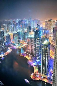 Dubai. Gorgeous night shot. On our short list to visit soon ... 4 start hotels in Dubai #UAE #Dubai http://holipal.com/hotels/