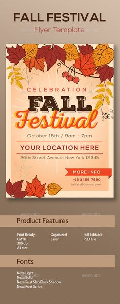 Fall Festival Flyer Template PSD, AI #design Download: http://graphicriver.net/item/fall-festival-flyer-template/13181451?ref=ksioks