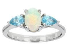 .40ct Oval Ethiopian Opal With .37ctw Pear Shape Blue Apatite Sterling Silver Ring