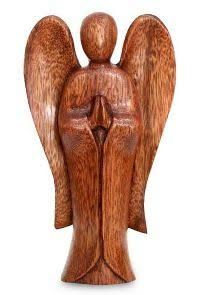 Bloomsbury Market Sleek suar wood contours give life to a beautiful angel. With hands folded, the heavenly messenger carries a message of peace. Luh Mas Sri Pertamiari presents this exquisite sculpture. Wood Carving Patterns, Wood Carving Art, Wood Art, Wood Wood, Wood Carvings, Whittling Wood, Wooden Angel, Handmade Angels, Chip Carving