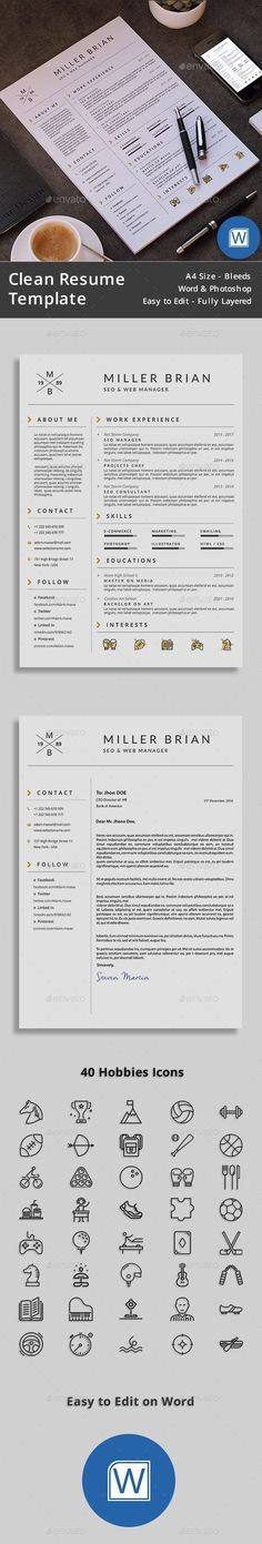 Resume template for Ms Word, CV template with FREE Cover Letter - instant resume builder