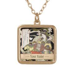 Benzaiten (Goddess of Beauty) Seated on a Dragon Custom Jewelry #Benzaiten  #Goddess  #Beauty #Dragon #Aoigaoka #Keisei #japanese #art #vintage #oriental #customizable #gifts  #Zazzle #japan #legend #myth