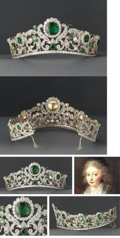 The Angouleme Emerald Tiara worn by Marie Antoinette and made by Evrard and Frederic Bapst for the French crown jewels in 1820 There are 1031 diamonds and 40 emeralds in. Crown Royal, Royal Crowns, Royal Tiaras, Tiaras And Crowns, Marie Antoinette, Royal Jewelry, Fine Jewelry, Antique Jewelry, Vintage Jewelry