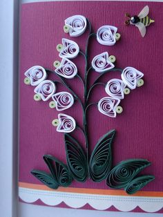 Quilled Flower with Bee Card by Karen Miniaci. Quilling Supplies from 'Quilled Creations'