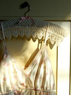 "Knitted with RYC Pure Silk DK. Pattern published in ""Romantic Style"" from Jennie Atkinson. Fabric Covered Hangers, Padded Coat Hangers, Crochet Coat, Wire Crochet, Crochet Hooks, Vintage Hooks, Wedding Hangers, Lace Doilies, Crochet Accessories"