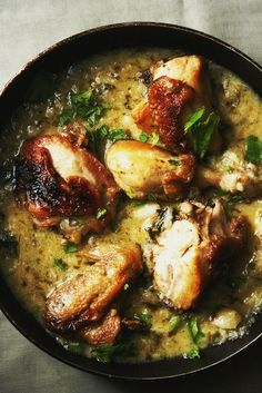 Garlic Chicken with Creamed Spinach Mashed Potatoes