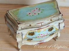 Chalk Painted Rococo Bombe Chest in 1:12 scale