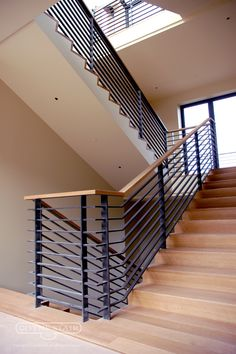 Back to Portfolio Staircase Railing Design, Modern Stair Railing, Metal Railings, Modern Stairs, Metal Barn Homes, Metal Building Homes, Building A House, House Design Pictures, Pole Barn House Plans
