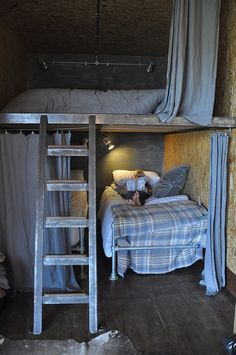 Would be a nice makeshift guest/kids room in an unfinished area! French Country House, French Farmhouse, Country Farmhouse, Bonheur Simple, Box Bed, Cozy Cabin, Cabins In The Woods, Next At Home, Living Spaces