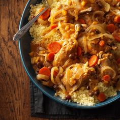 Slow-Cooked Moroccan Chicken Recipe -Herbs and spices really work their magic on plain chicken in this dish, and the dried fruit adds an exotic touch. —Kathy Morgan, Ridgefield, Washington
