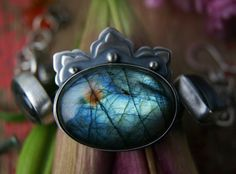 A Crown of Black Lightning - Labradorite Sterling Silver Bracelet by Mercury Orchid