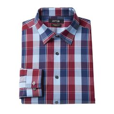 Men's Apt. 9® Slim-Fit Premier Flex Collar Plaid Stretch Dress Shirt, Size: 14.5-32/33, Red