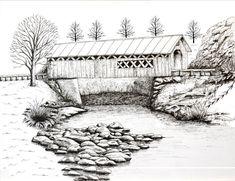 Covered Bridge 2 Cool Art Drawings, Pencil Drawings, Pencil Sketching, Drawing Ideas, Bridge Drawing, Line Drawing, Wood Burning Patterns, Color Pencil Art, Covered Bridges