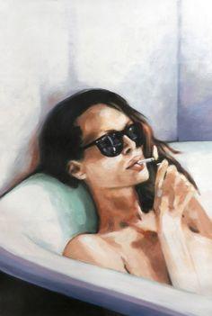 "Saatchi Online Artist: thomas saliot; Oil 2014 Painting ""The bath"""