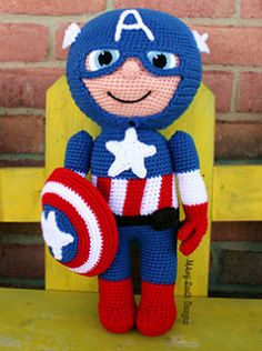 Captain America free crochet pattern - 10 Free Crochet Superhero Patterns