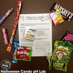 The purpose of this lab is to determine if popular Halloween candies are acidic or basic (alkaline). The students will follow the scientific method to test using pH paper and baking soda as indicators.