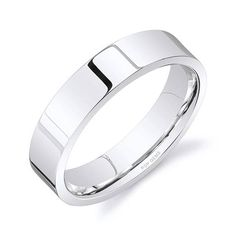 f219842d347 Items similar to 14k White Gold Band (5mm)   PLAIN   Polished Flat + Comfort  Fit   Men s Women s Wedding Ring on Etsy