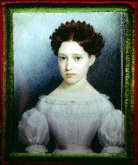 MARY MACCARTY STILES (1807-1872), c. 1825  Eliza Goodridge (1798-1882)  watercolor on ivory  3 1/16 x 2 1/2