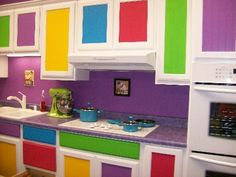 colorful kitchen design ideas.....I want to deffinately do my new kitchen like this! Wonder if hubs would mind ;)