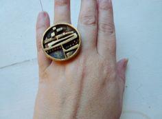 Modernist bronze ring Ship Jorma Laine Finland by Scandivintage Bronze Ring, Hole Saw, Scandinavian Design, Finland, Jewelry Ideas, Cufflinks, Flaws, Ship, Mom
