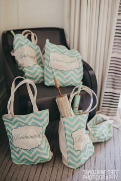 Bridesmaids bags mint green chevron from www.francescas.com. I filled them with water, snacks, tissues, mint green parasols for shade on our hot sunny wedding day