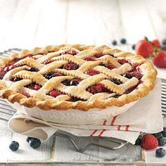 I think the best berries in the world are grown in the Ozarks. We own a small berry farm, and this is one of my favorite recipes. It's delicious served warm. Fruit Recipes, Pie Recipes, Sweet Recipes, Dessert Recipes, Summer Desserts, Just Desserts, Delicious Desserts, My Favorite Food, Favorite Recipes