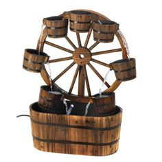 Zingz & Thingz Wagon Wheel Bucket Fountain