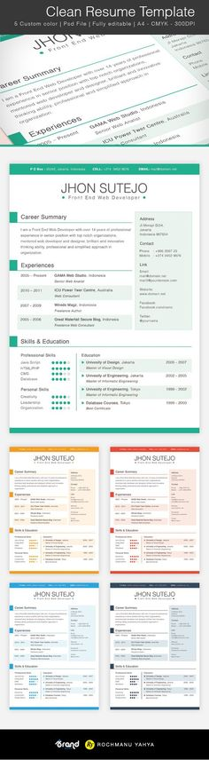 Free Colorful Resume Templates Of Free Clean Resume Template 5 Colors Resume Help, Job Resume, Resume Tips, Resume Examples, Resume Ideas, Free Resume, Sample Resume, One Page Resume Template, Cv Template