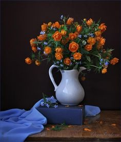 Still life with Globe Flowers