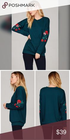 PREORDER  French Terry Embroidered Sweatshirt Gorgeous color in this season's hot teal with Embroidery and an oversized fit Sweaters